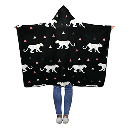 - INTERESTPRINT Cougar Black Hooded Blanket 60 x 50 inches Kids Girls Boys Toddler Throw Polar Fleece Blankets Wrap
