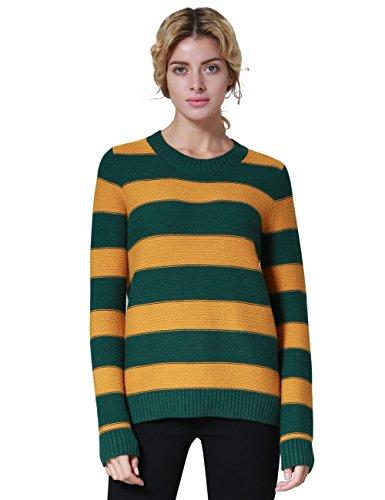 - Ninovino Women's Crew Neck Stripe Pullover Cashmere Sweater Green & Khaki-M