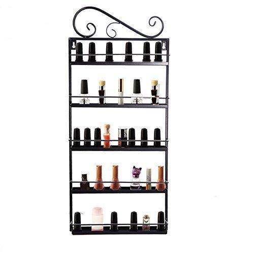 Metal Nail Polish Wall Mount Stand Rack Organizer, 5 Tiers Salon Shelf Display Rack Holder-Capacity of 60 Bottles – Black