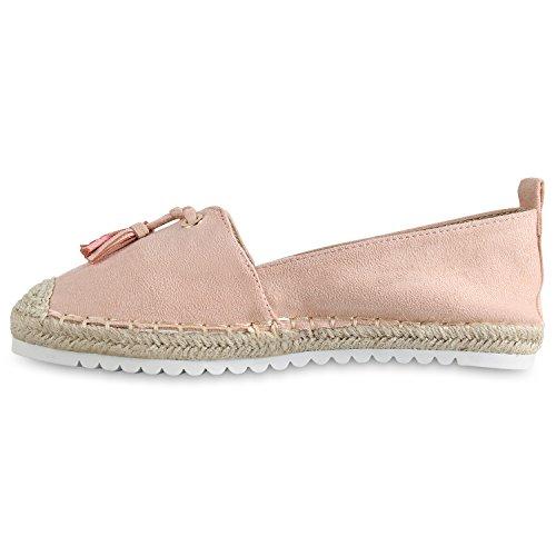 Stiefelparadies Damen Slippers Espadrilles Bast Quasten Leder-Optik Freizeit Schuh Flandell Rosa