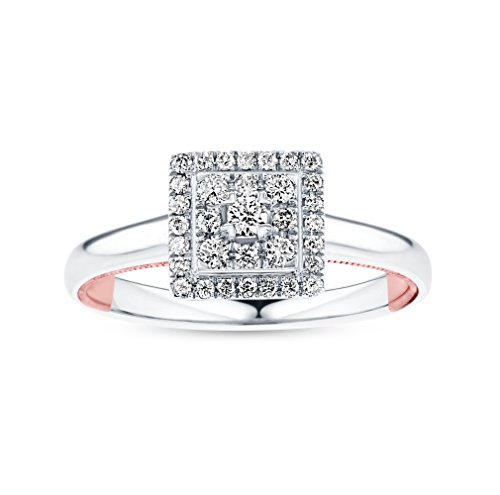 (Life More Dazzling 10K White Gold Princess Diamond Ring Rose Gold Milgrain Heart (1/4CTW, I2 Clarity))