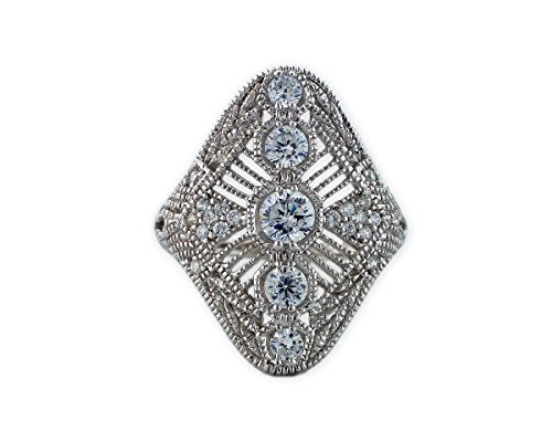 Helen Andrews Cubic Zirconia Sterling Silver Platinum Plated Victorian Ring, Size 8