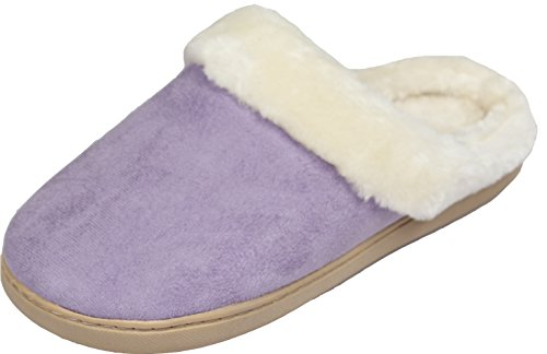 LUXEHOME+Women%27s+Cozy+Fleece+House+Footwear%2FSlippers%281-08%29+%288-9+US%2C+Light+Purple%29
