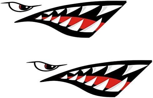 Monkeyjack 2 Pieces Shark Mouth Decals Sticker Fishing Boat Canoe Kayak Graphics Accessories Waterproof And Durable