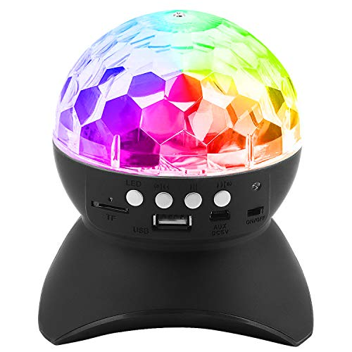 Disco Stage Light & Wireless Speaker, PEMOTech Magic Ball Stage Lamp, Auto Rotating Party Light with USB, TF Card Port, Aux Input, for Holiday, Wedding, Christmas, Halloween, Birthday ()