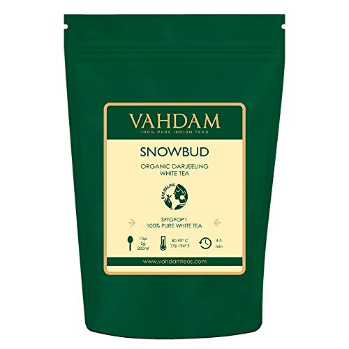 (VAHDAM, Snowbud White Tea Leaves from Darjeeling (25 Cups), White Tea Loose Leaf Sourced Direct from High Elevation Estates in the Himalayas, 1.76oz)