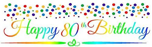 CakeSupplyShop Item#080RPB Happy 80th Birthday Rainbow Wall Decoration Indoor/Outdoor Party Banner (10 x 50inches) ()