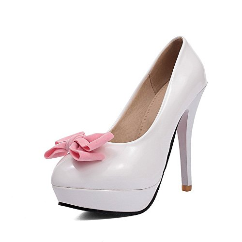 BalaMasa Girls Stiletto Solid Patent Leather Pumps-Shoes White ZmeSirccKq