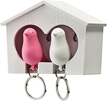 Qualy – Key Chain Bird House Duo Colour: Pink