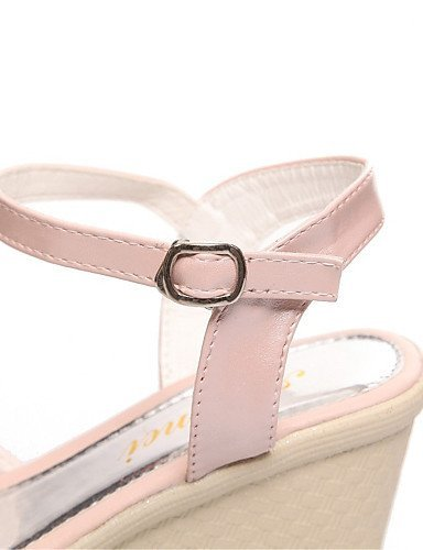 ShangYi Womens Shoes Glitter / Leatherette Wedge Heel Wedges Sandals Office & Career / Dress / Casual Blue / Pink / White Pink