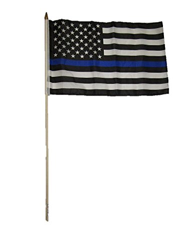 12x18 12''x18'' USA Police Blue Line Memorial Stick Flag wo