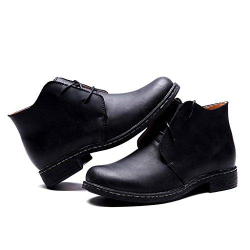 ZXCV Zapatos al aire libre Zapatos de hombre retro grandes zapatos de cuero para ayudar a los zapatos de Martin Negro