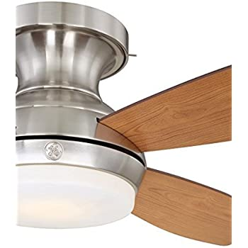 Ge Kinsey 44 Quot Brushed Nickel Led Indoor Ceiling Fan With