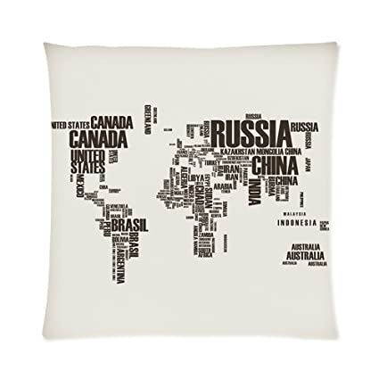 home decor personalized art word world map zippered throw pillow cover cushion case 16x16 one
