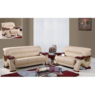 Global Furniture Usa 2033-Cap 3 Piece Bonded Leather Living Room Set In Cappuccino price