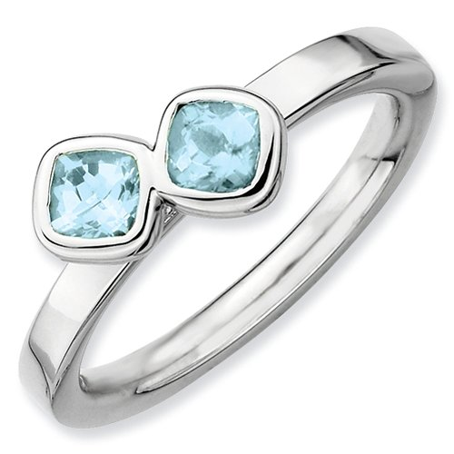 Sterling Silver Stackable Expressions Double Cushion Cut Aquamarine Ring - Size 8