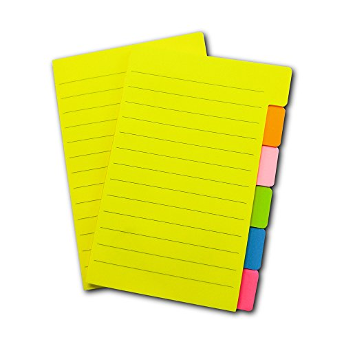 Sticky Notes 4 x 6 Inches,66 Ruled Notes, Assorted Neon Colors, 2 Pads