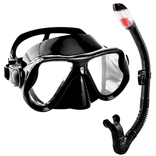 Scientoy Snorkel Set- Dive Mask with Easy-Breath Dry Top Valve, Anti Fog Lens, Wide View - Adjustable Snorkel Mask for Adult and Youth