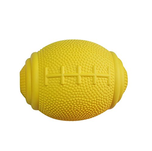 - PlayfulSpirit Tricky Treat Rugby Ball: Dog Treat Dispenser - Awesome Anxiety Reliever and Boredom Breaker, Fun Fetch and Basic Puppy Training Toy (Small, Yellow)