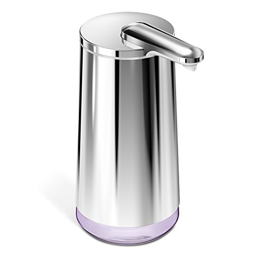 (simplehuman Touch-Free Automatic Foam Cartridge Sensor Soap Pump With Lavender Foam Soap Cartridge, Polished Stainless Steel, Rechargeable )
