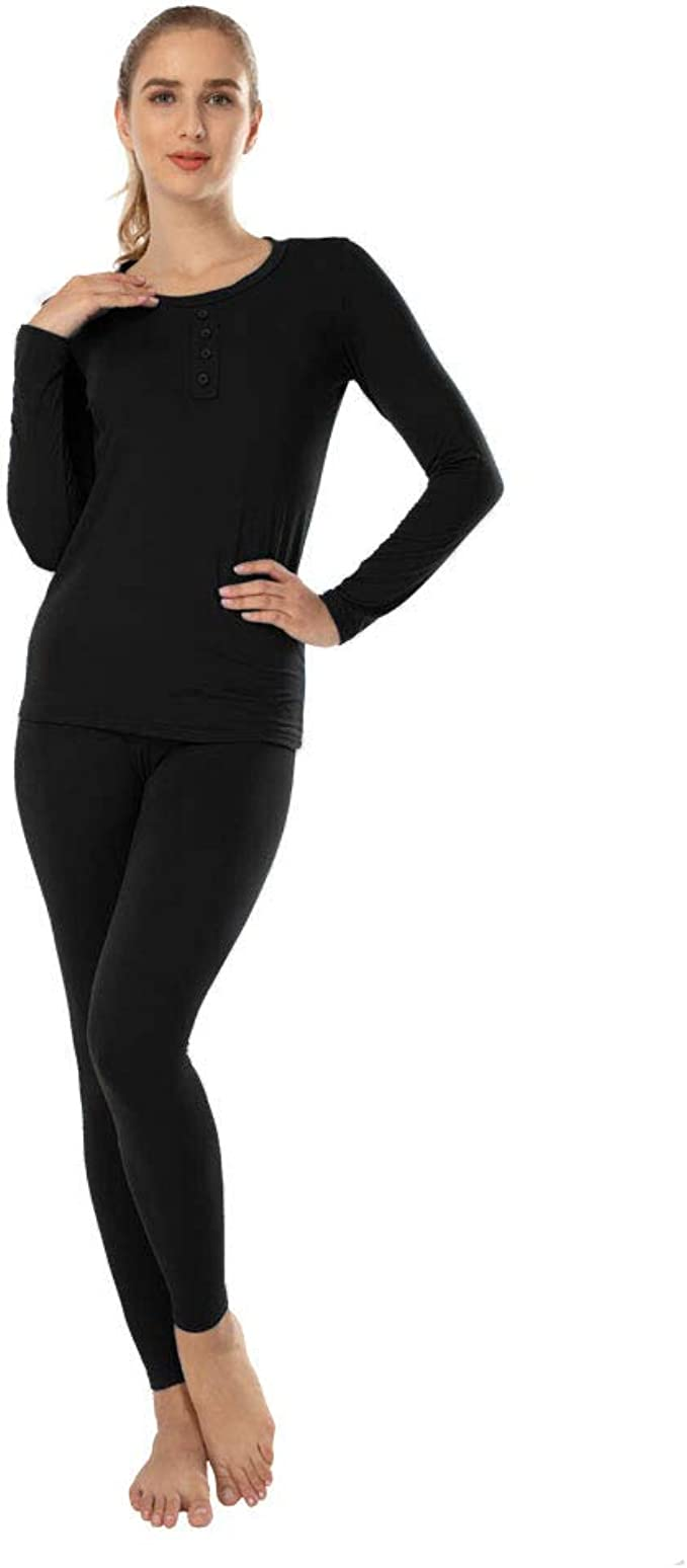 MANCYFIT Thermal Underwear for Women Fleece Lined Ultra Soft Base Layer Long Johns Set Gray and Pink XX-Large