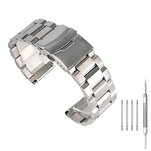 Brushed Stainless Steel Watch Band Classic Bracelet 24mm with Double Buckle Safety Lock Replacement Strap Wrist Band - Silver