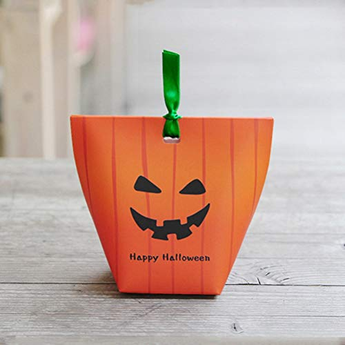 BERTERI Creative Halloween Candy Box, 50PCS Pumpkin Ghost Pattern Gift Box, Candy Favor Boxes for Party Mall Kindergarten -