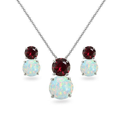 Sterling Silver Created Ruby & Simulated Opal Double Round Stud Earrings & Necklace Set