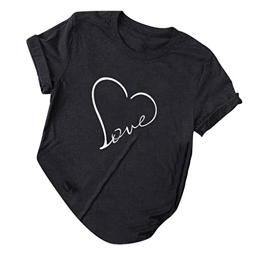 Sunhusing Women's Simple Love Heart Letter Printing Casual Round Neck Short Sleeve Solid Color Top Tee Black