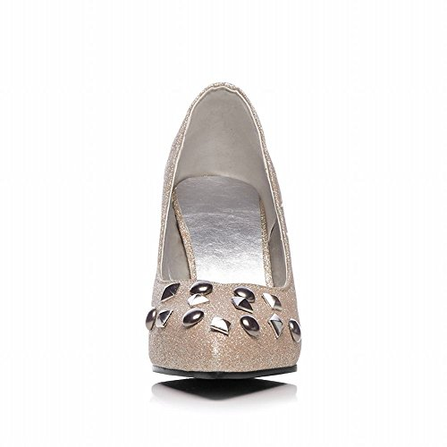 Carolbar Womens Pointed Teen Pailletten Spikes Stilettos Bruiloft Pumps Schoenen Goud