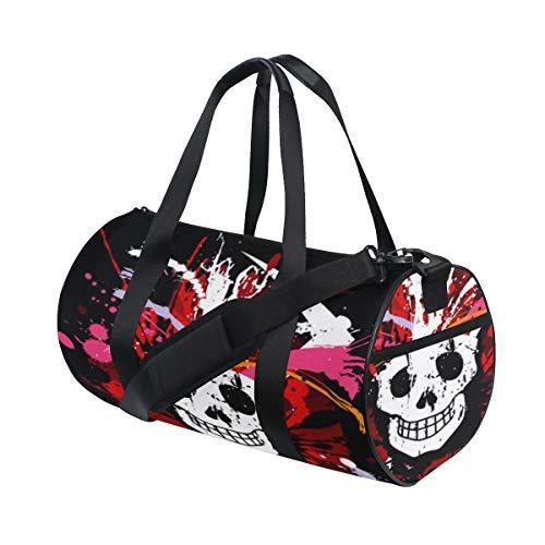 Popular American Rock Head Skull Custom Multi Lightweight Large Yoga Gym Totes Handbag Travel Canvas Duffel Bags With Shoulder Crossbody Fitness Sports Luggage For Boys Girls Mens Womens