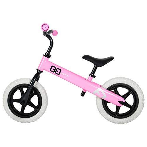 HAPTOO Balance Bike for 2 3 4 5 Year Old, No Pedal Toddler Bike 12 inch Adjustable Handlebars/Seat Walking Glide Bicycle Kids Bike for Girls Boys (Pink/WH) ()