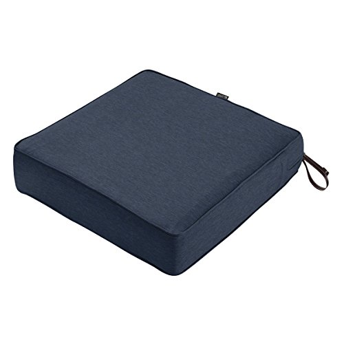 Classic Accessories Montlake Seat Cushion Foam & Slip Cover, Heather Indigo, 25x25x5″ Thick