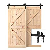 PENSON & CO. SDH-BY23-BK 6.6 FT Bypass Sliding Barn Hardware Double Wood Doors One-Piece Rail Track Kit (Black)