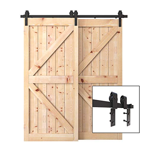 PENSON & CO. SDH-BY23-BK 6.6 FT Bypass Sliding Barn Hardware Double Wood Doors One-Piece Rail Track Kit - Kit Co