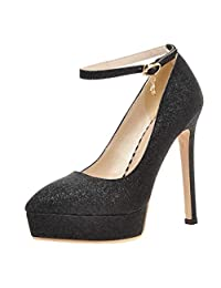Caradise Womens Sequin Glitter High Heels Ankle Strap Platform Stiletto Pumps