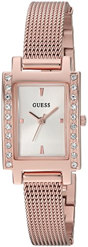 GUESS Women's Stainless Steel Crystal Mesh Bracelet Watch, Color: Rose Gold-Tone (Model: U0953L3) (Womens Watch Crystal Bracelet Guess)