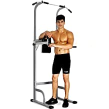 SJ500 Power Tower Adjustable Pull Up Stand Muscle Strength Toner Home Gym Workout Fitness Equipment