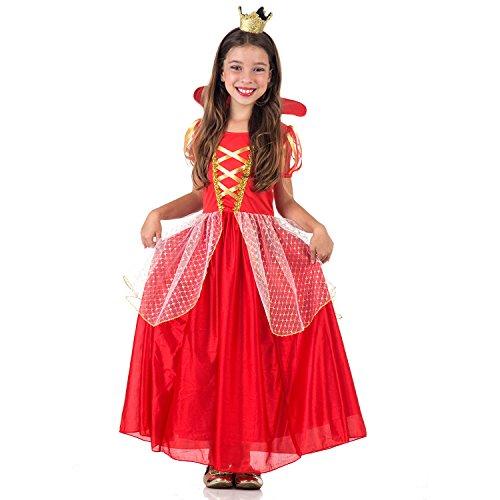 Rainha Luxo Infantil 38356-G Sulamericana Fantasias Vermelho G 10/12 Anos