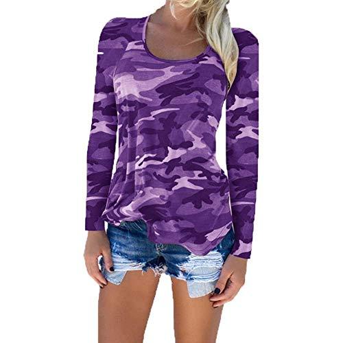 Manica Top Rotondo Fit Chic Vita Primaverile Alta Slim Tops Camuffare Donna T Collo Ragazza Accogliente Lunga Shirts Stampate Lila Maglietta Moda Pattern Eleganti PqAwO