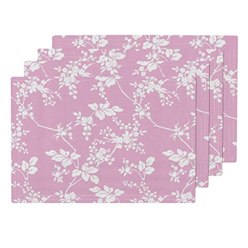 Roostery Pink Floral 4pc Linen Cotton Canvas Cloth Placemat Set - Sorbet Blush Botanical Nature Nursery Sorbet Pink Shabby Chic Toile Flowers Floral Wedding by Lilyoake (Set of 4) 13 x 19in