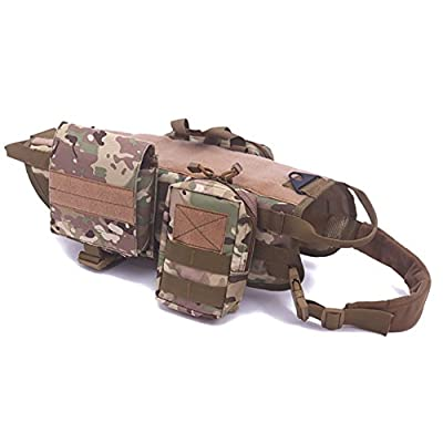Darkyazi Dog Tactical Military Vest Training Outdoor Molle Camouflage Harness with 3 Detachable Pouches