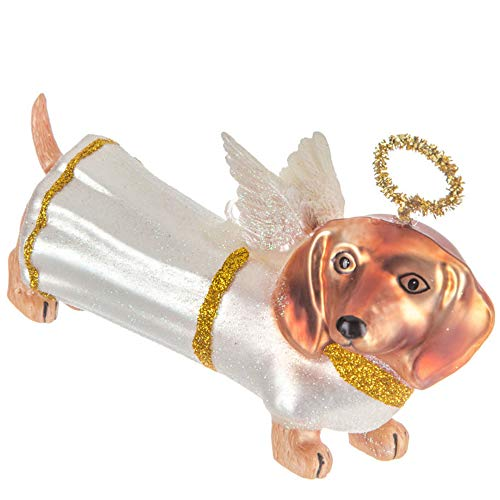 Robert Stanley Dachshund Angel Dog Glass Ornament for Christmas Tree, 5 Inches