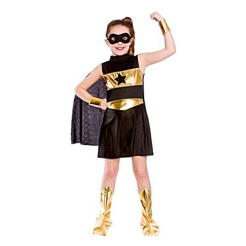 Girls Black Super Hero Fancy Dress Party Costume Halloween Child