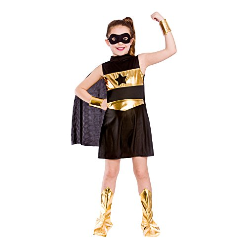 Children's Wonder Woman Costume Uk (Girls Black Super Hero Fancy Dress Party Costume Halloween Child)