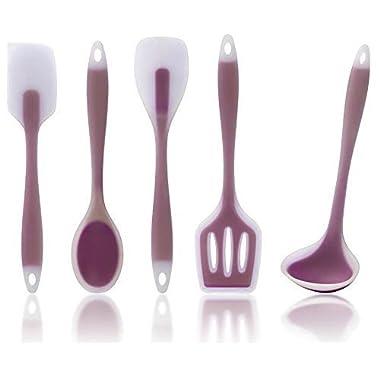 Bleu Whisk Premium Kitchen Utensils, 5 Piece Set Includes Non-stick Silicone Ladle, Slotted Turner, Spoon, Spoonula, Spatula in a Nice PVC Tube