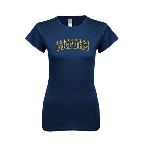 Allegheny Next Level Ladies SoftStyle Junior Fitted Navy Tee 'Arched Allegheny Gators'