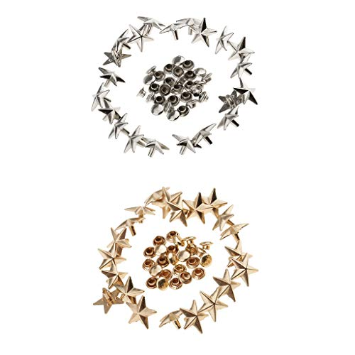 (Prettyia 40pcs 13mm Gold Silver Star Rivets Punk Studs for Leather Crafts Bag Jeans)