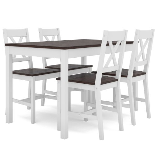 CorLiving DTC-754-T Kitchen Set with 4 Chairs, White and Cappuccino Stained