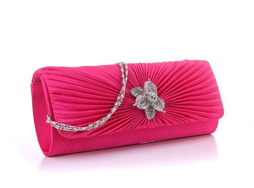 Crystal Diamante Clutch Party Purse Bag Wedding Pleated Lady Evening rose Womens Flower Demarkt pgqtEOWx